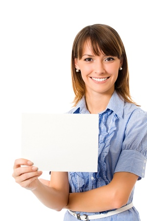 cutout: Happy young business woman showing blank signboard, isolated on white background