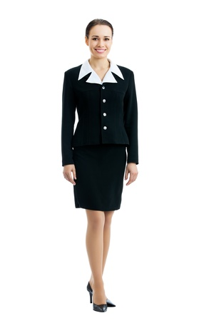 Full-body portrait of smiling businesswoman, isolated on white background