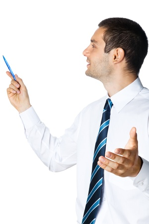 copyspase: Happy smiling young businessman showing blank area for sign or copyspase, isolated on white background Stock Photo