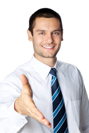 Portrait of happy smiling businessman giving hand for handshake, isolated on white background photo
