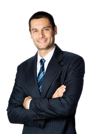 幸せな笑顔の実業家、白い背景で隔離の肖像画