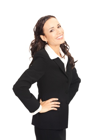 Portrait of happy smiling business woman, isolated on white background Stock Photo - 10290867