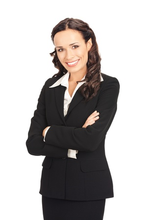 Portrait of happy smiling business woman, isolated on white background Stock Photo - 10290872