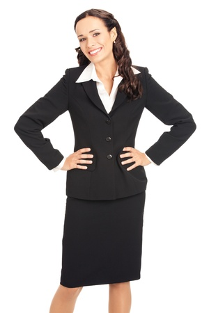 Portrait of happy smiling business woman, isolated on white background Stock Photo - 10290875