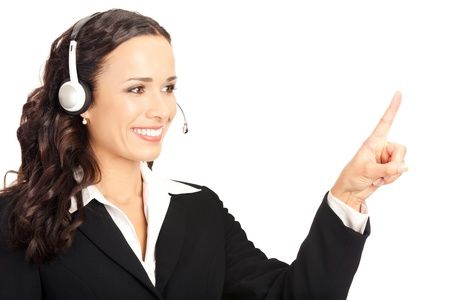 operators: Portrait of happy smiling cheerful customer support phone operator in headset pointing at something, isolated on white background Stock Photo