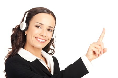 Portrait of happy smiling cheerful customer support phone operator in headset pointing at something, isolated on white background Stock Photo - 10290871