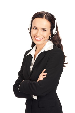 sales call: Portrait of happy smiling cheerful customer support phone operator in headset, isolated on white background