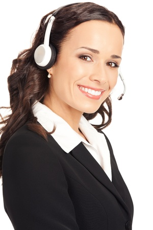customer services: Portrait of happy smiling cheerful customer support phone operator in headset, isolated on white background