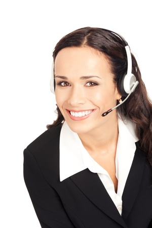 Portrait of happy smiling cheerful customer support phone operator in headset, isolated on white background Stock Photo - 10290918