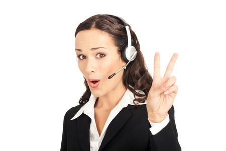 winning woman: Portrait of happy smiling cheerful customer support phone operator in headset showing two fingers, isolated on white background Stock Photo