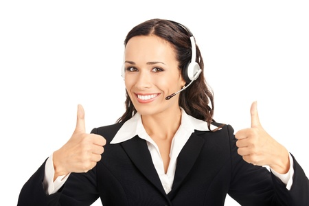 line up: Portrait of happy smiling cheerful customer support phone operator in headset showing thumbs up gesture, isolated on white background