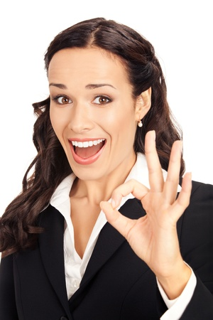 Happy smiling young business woman showing okay gesture, isolated on white background Stock Photo - 10290954