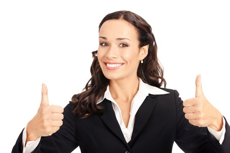 Happy smiling business woman showing thumbs up gesture, isolated on white background Stock Photo - 10290904