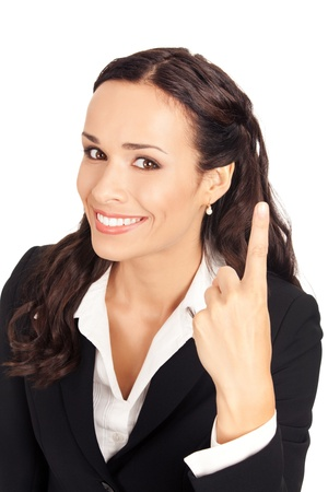great job: Happy smiling young business woman showing one finger, isolated on white background