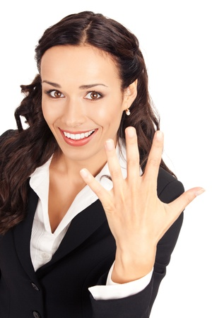 five fingers: Happy smiling young business woman showing five fingers, isolated on white background