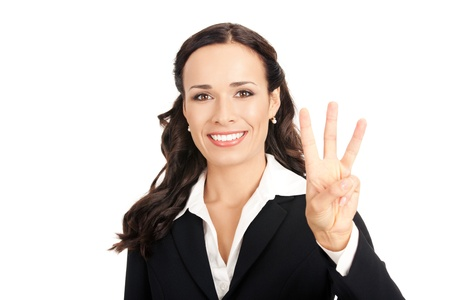 three persons: Happy smiling young business woman showing three fingers, isolated on white background