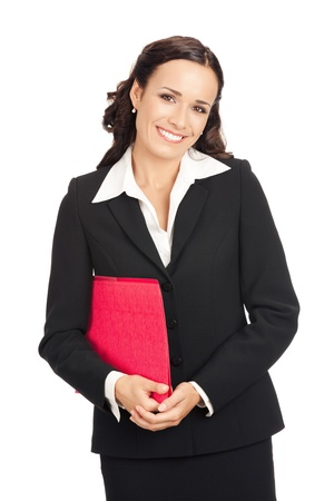 Portrait of young happy smiling business woman with red folder, isolated on white background photo