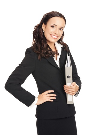 presentation folder: Portrait of young happy smiling business woman with grey folder, isolated on white background