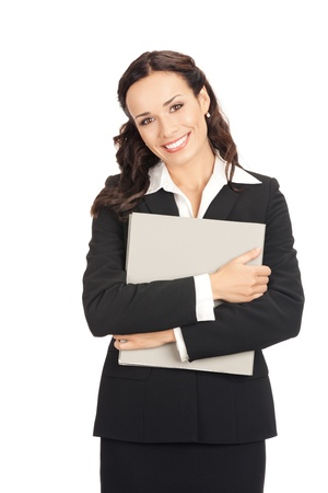 Portrait of young happy smiling business woman with grey folder, isolated on white background photo