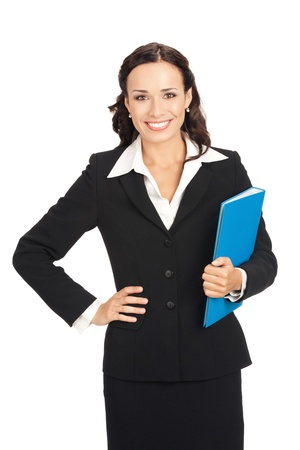 Portrait of young happy smiling business woman with blue folder, isolated on white background photo