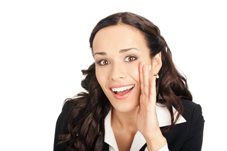 Portrait of happy smiling young business woman covering with hand her mouth, isolated on white background Stock Photo - 10355800