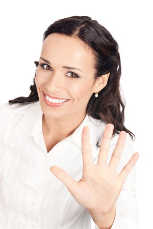 one finger: Happy smiling young business woman showing five fingers, isolated on white background