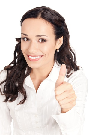 Happy smiling business woman showing thumbs up gesture, isolated on white background Stock Photo - 10468139