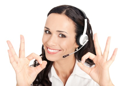 call center people in isolated: Portrait of happy smiling cheerful customer support phone operator in headset showing okay gesture, isolated on white background