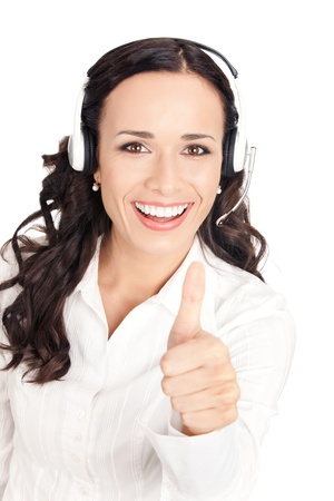 Portrait of happy smiling cheerful customer support phone operator in headset showing thumbs up gesture, isolated on white background photo