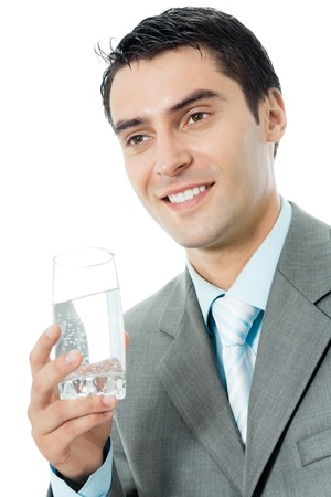 man drinking water: Portrait of happy smiling young business man with glass of water, isolated on white background