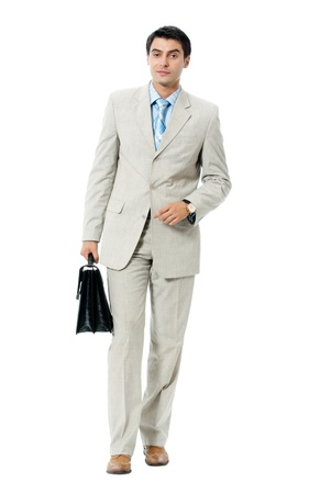 seach: Businessman with briefcase, isolated on white background Stock Photo