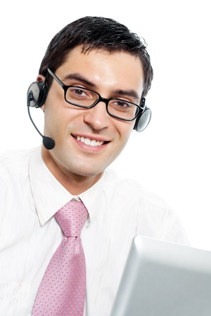 Portrait of happy smiling cheerful support phone operator in headset, isolated on white background Stock Photo - 10468000