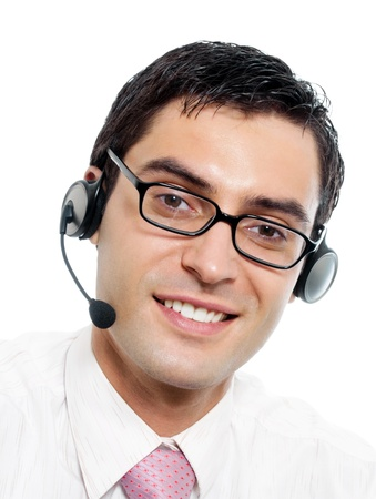 Portrait of happy smiling cheerful support phone operator in headset, isolated on white background Stock Photo - 10467981