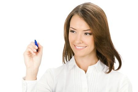 whitebackground: Happy smiling cheerful young business woman writing or drawing on screen with blue marker, isolated on white background