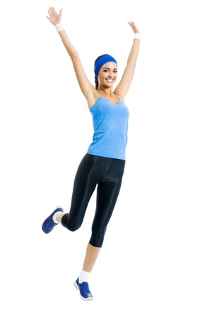 girl in sportswear: Full body of young happy smiling woman doing fitness exercise, isolated on white background  Stock Photo