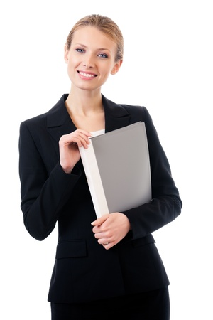 Portrait of happy smiling business woman with grey folder, isolated on white background Stock Photo - 10611638