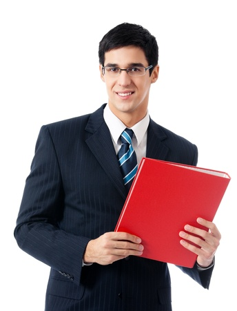 Portrait of happy smiling young business man with red folder, isolated on white background photo