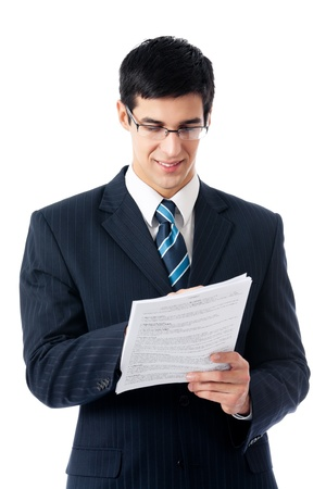 businessman signing documents: Happy smiling young business man showing document or contract, isolated on white background Stock Photo