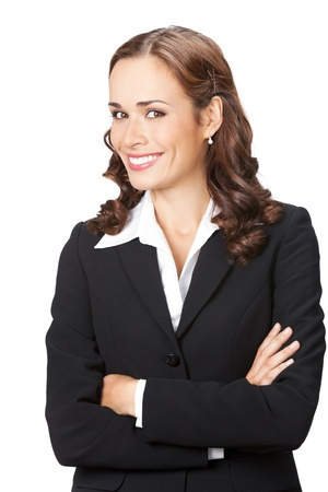Portrait of happy smiling business woman, isolated on white background photo