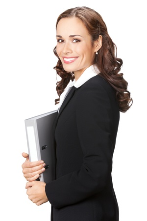 Portrait of happy smiling business woman with grey folder, isolated on white background Stock Photo - 10683049