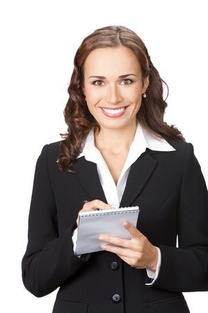 Portrait of happy smiling business woman with notepad or organizer, isolated on white background photo