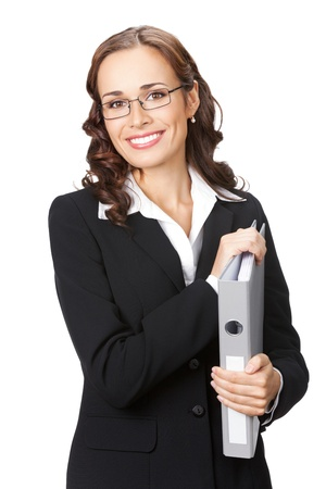 Portrait of happy smiling business woman in glasses with grey folder, isolated on white background photo