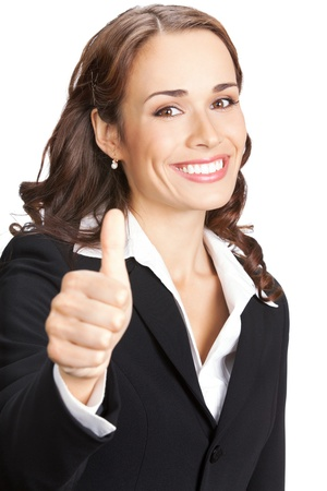 Happy smiling business woman showing thumbs up gesture, isolated on white background Stock Photo - 10683098