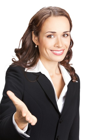 Happy smiling business woman giving hand for handshake, isolated on white background photo