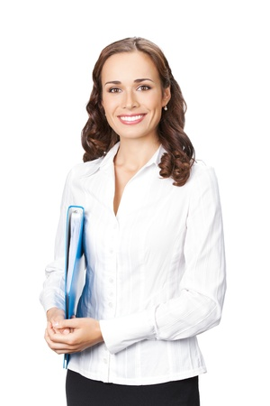 Portrait of happy smiling business woman with blue folder, isolated on white background photo