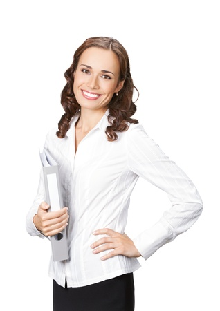 Portrait of happy smiling business woman with gray folder, isolated on white background photo
