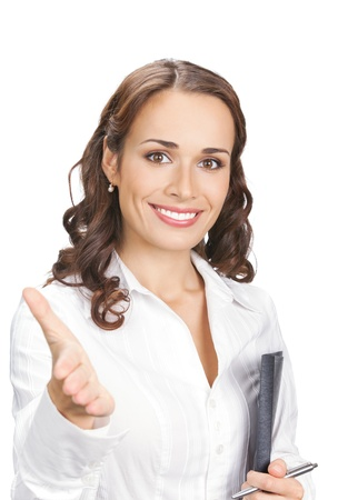 Happy smiling young beautiful business woman with black folder giving hand for handshake, isolated over white background photo