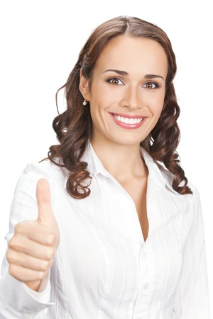 Happy smiling young beautiful business woman showing thumbs up gesture, isolated over white background Stock Photo - 10755026