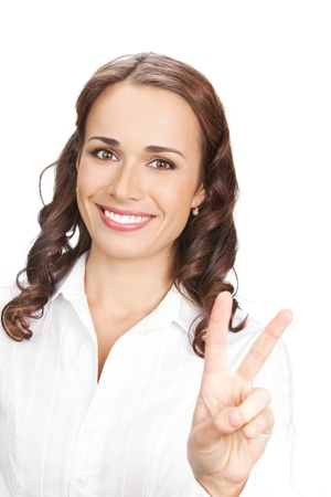 Happy smiling beautiful young business woman showing two fingers, isolated on white background Stock Photo - 10755023