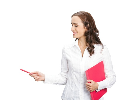 copyspase: Happy smiling young beautiful business woman showing blank area for sign or copyspase, isolated over white background